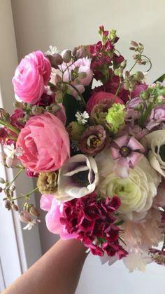 Summer Wedding Bouquets, Floral Wedding, Wedding Flowers, Bridal Bouquets, Ranunculus, Peonies, Flower Farm, Pink Flowers, Beautiful Flowers