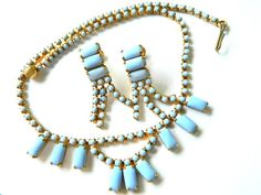 Cornflower Blue Milkglass Set Necklace And Earrings 1950s Vintage Collectible Jewelry by JewelryQuestDesign