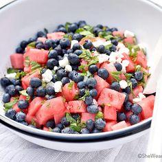 Blueberry Watermelon Feta Mint Salad