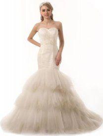 GEORGE DESIGN Dreamlike Mermaid Sweetheart Tiered Tulle Wedding Dress