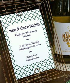 Wine and Cheese Pairing Wedding Activity. One of my absolute favorite things to do!