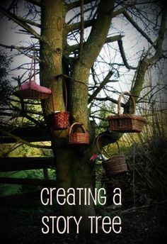 Interesting idea to promote language and literacy - Create several story baskets and take turns. Sun Hats & Wellie Boots: Creating a Story Tree with Story Baskets