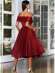 A beautiful midi length dress by Jadore Evening JX4003. An off shoulder style featuring a flared pleated skirt. Wine Bridesmaid Dresses, Homecoming Dresses, Lace Midi Dress, Strapless Dress, Off Shoulder Fashion, Burgundy Dress, Special Occasion Dresses, Ankle Length, Pretty Outfits