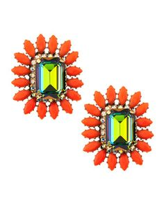 Rhinestone and Cabochon Earrings by RODRIGO OTAZU at Last Call by Neiman Marcus.
