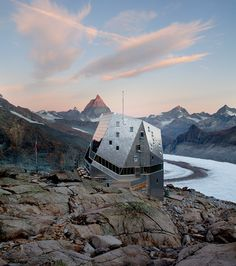 Monte Rosa Hütte in Switzerland. at 4,634 metres. What views of the Matterhorn and Monte Rosa!