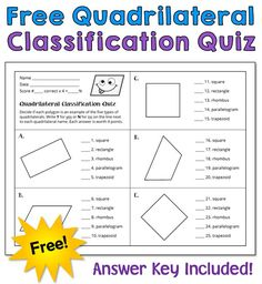 How well do your students  classify quadrilaterals? To find out, download this free quiz from Laura Candler's Teaching Resources! Teaching Activities, Teaching Math, Teaching Resources, Teaching Ideas, Teaching Geometry, Math Literacy, Math Classroom, Maths, Math Test Games