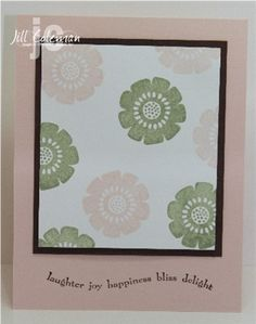 Stamps: Best Wishes and More Paper: Blush Blossom, Choc Chip and Whisper White Ink: Mellow Moss, Blush Blossom and Choc Chip Accessories: Stampin' Dimen