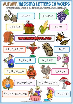 Autumn Missing Letters In Words ESL Exercise Handout