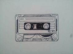 Cassette tape tattoo design