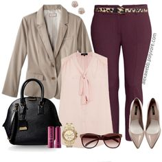 Plus Size - Office Slacks by alexawebb on Polyvore featuring Merona, H&M, Zara, Burberry, Michael Kors, Humble Chic, SELECTED, Fresh, outfit and Work