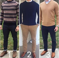 Three smart casual looks from 1 2 or Upgrade your style Outfits Hombre Casual, Terno Slim, Smart Casual Menswear, Look Man, Outfit Grid, Mens Clothing Styles, Stylish Men, Mens Fashion, Fashion Trends