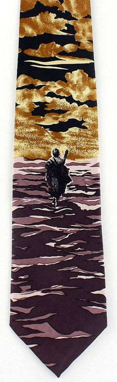 New Jesus Walks on Water Mens Necktie Religious Christian Bible Black Neck  Tie #Parquet #NeckTie