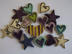 "Clay heart inserts by ""One of a Kind"""