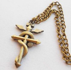 New Fullmetal Alchemist Edward Elric Snake Cross Pendant Necklace Cosplay Gift #Unbranded