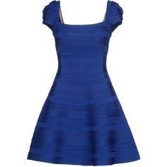 Hervé Léger By Max Azria Short Dress ($1,375) ❤ liked on Polyvore featuring dresses, blue, trapeze dress, pocket dress, short blue dresses, mini dress and blue dress