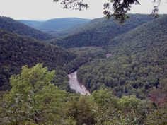 Loyalsock Creek winds between mountains at Worlds End State Park, Pennsylvania.