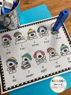 Kindergarten math counting activity. Numbers 1-20. Easy to differentiate. Print and play game. $