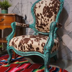 Western Furniture - Western Bedding, Western Decor & Rustic Home Finds Cowhide Furniture, Reupholster Furniture, Western Furniture, Funky Furniture, Chair Upholstery, Furniture Makeover, Painted Furniture, Furniture Ideas, Cabin Furniture