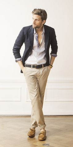 Slim khakis and a well tailored blazer