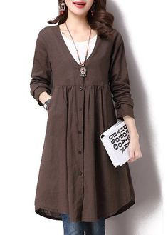 Single Breasted Long Sleeve Solid Brown  Coat