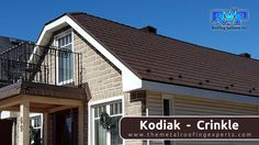 The deep earthy tones of this roof from RVP Roofing is a perfect complement to the stonework.  Visit us for more at www.rvp-roofing.com.  Don't forget to like and pin! #RVP #highstrengthsteel #armadura #permanentroof #KodiakCrinkle Roofing Systems, Metal Roof, Earthy, Don't Forget, Garage Doors, Homes, Deep, Outdoor Decor, Home Decor