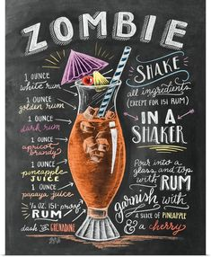 Because I haven't shared a cocktail drawing in a while and it's almost Halloween!🍹You can find this recipe in the 2018 cocktail calendar! Cheers to the weekend! Bar Drinks, Cocktail Drinks, Alcoholic Drinks, Beverages, Zombie Food, Zombie Drink, Zombie Cocktail, Best Summer Cocktails, Lily And Val