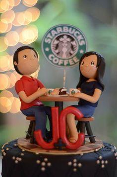 Starbucks Coffee Wedding Cake. Wedding Cake Topper. Coffee theme
