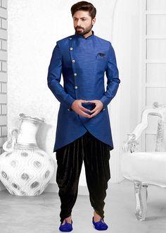 Readymade Blue Indo Western Sherwani With Dhoti Wedding Dresses Men Indian, Wedding Dress Men, Wedding Suits, Sherwani Groom, Blue Sherwani, Mens Ethnic Wear, Indian Men Fashion, Men's Fashion, Rajasthani Dress