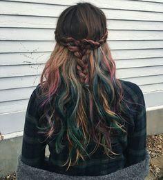 "KL Christoffersen på Instagram: ""Mermaid Flannel❤️#fluidhairpainting #halocoutureextensions #pravana #customcolor"""