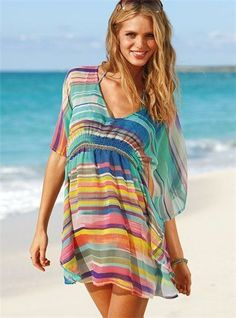 VS swimsuit cover up Outfit Strand, Beach Cover Ups, Swimsuit Cover Ups, Swim Cover, How To Roll Sleeves, Dress Me Up, Fashion Advice, Look Fashion, Beachwear