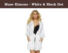 Muse Kimono - White & Black Dot. For a hint of drama and all day glamour slip on this soft, silky wrap. Wide sleeves and a short shape make it the perfect addition to your lingerie wardrobe. • Brand:Jezebel • Style #: 75025 • Silhouette:Robe • Fit: Relaxed - Satin charmuese body - Side pockets -Removable tie at waist -Mi-thigh length Fabric content: Polyester: 100%.