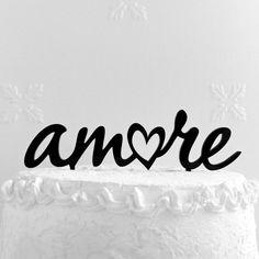 Amore Cake Topper  Custom Wedding Cake Topper Romantic