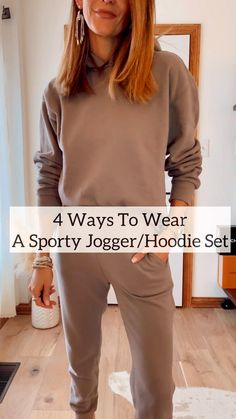 Women Joggers Outfit, Hoodie Outfit Casual, Joggers Womens, Fashion Joggers, Winter Outfits Women, Casual Winter Outfits, Casual Sunday Outfit, Sporty Chic Outfits, Stylish Hoodies
