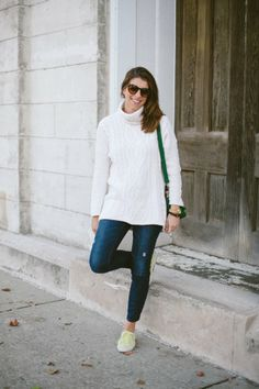 Outfit Post: Bundled Up In Blue * Cozy Knit Sweater & H&M * Yellow Superga Sneakers