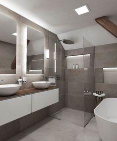 Minimalistická koupelna ATTIC - vizualizace Grey Bathrooms Designs, Light Grey Bathrooms, Gray And White Bathroom, Bathroom Design Luxury, Bathroom Interior, Bathroom Trends, Bathroom Renovations, Bad Inspiration, Bathroom Inspiration