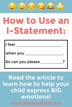 I-statements are a great social skill for kids to learn. Teach your children emotional intelligence with this easy guide to managing emotions! Parenting Books, Parenting Advice, Kids And Parenting, Foster Parenting, Parenting Classes, Parenting Websites, Parenting Styles, Mantra, Social Skills For Kids