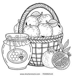 Autumn vector coloring page for adults. Black and white background silhouette. Harvest of ripe applesapples, pomegranates and honey pot. Rosh hashanah jewish new year holiday , Thanksgiving Coloring Pages, Fall Coloring Pages, Doodle Coloring, Coloring Sheets, Coloring Books, Black And White Background, Black And White Drawing, Printable Adult Coloring Pages, Floral Letters