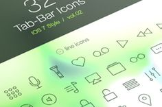 Volume 2 of our iOS7 styled tab bar icons with 32 new icons to use in your apps. We included normal...