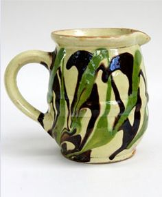 Mochaware Marbled Slip Decorated Redware Pitcher