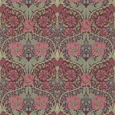 A Honeysuckle & Tulip design in burgundy and sage, this wonderful design from the Morris & Co collection was first produced in From the new William Morris Archive III collection, buy online today. William Morris Wallpaper, William Morris Art, Morris Wallpapers, Fabric Wallpaper, Of Wallpaper, Designer Wallpaper, Wallpaper Designs, Art Deco, Art Nouveau