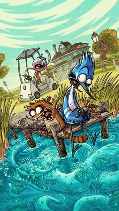 REGULAR SHOW Cover by RobbVision, cartoon series, anime digital painting illustration, character design, inspirational art Cartoon Cartoon, Cartoon Kunst, Cartoon Styles, Cartoon Ideas, Cartoon Design, Art And Illustration, Character Illustration, Cartoon Wallpaper, Cartoon Network