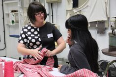 A student learning about #fabrics and #knitwear from a NTU lecturer.