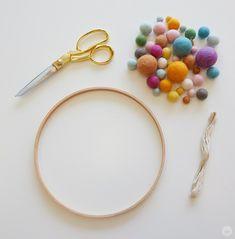 DIY: Embroidery Hoop Baby Mobile - Think. Embroidery Hoop Nursery, Embroidery Hoop Decor, Diy Embroidery, Diy Mobile Embroidery Hoop, Hungarian Embroidery, Embroidery Jewelry, Baby Mädchen Mobile, Diy Crib, Diy Bebe