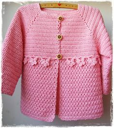 free crochet girls sweater pattern from a Czech blog. Im making it ...