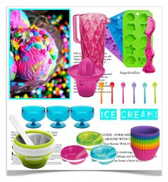 """Unicorn ice cream"" by angelicallxx ❤ liked on Polyvore featuring interior, interiors, interior design, home, home decor, interior decorating, Tiffany & Co., Zak! Designs, OXO and Koziol"