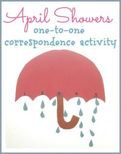 April Showers One-to-One Correspondence Activity- Pinned by @PediaStaff – Please Visit ht.ly/63sNtfor all our pediatric therapy pins
