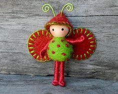 Bug de Navidad Bendy muñeca verde rojo