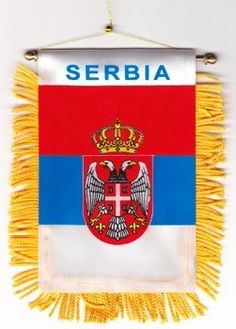 "Serbia - Window Hanging Flag by Flagline. $2.75. We are pleased to provide a selection of window-hanging flags, perfect for display in your vehicle. These are approx. 4.5"" x 4"" flags with fringed edges and a gold rope which attaches to the supplied suction hanger, or mounts directly over your rear-view mirror."