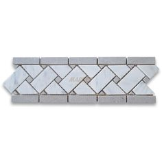 Carrara White 4x12 Basketweave Mosaic Border w/ Gray Dots Honed
