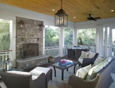 Porch~ ceiling, lantern, stone fireplace